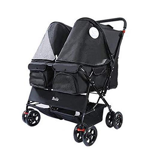 MOIMK 4 Rollen Doppel Sitz Pet Buggy Doppel Schlafsack Nest Bett Auto-Abnehmbarer Kinderwagen Transporttasche,Einfach Auf Verschiedene Straßenbedingungen Reagieren,Black