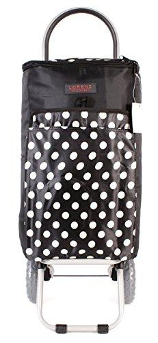 6959Verano Negro Lunares cool-bag con aislamiento Dos Ruedas Plegable Carrito de la compra