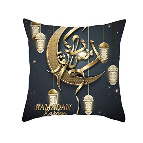 (Creative Ramadan Festival Thema Kissenbezug Leinen komfortable und langlebige dekorative Kissenbezug Brief Muster drucken schön dekoriert Kissenbezug 45 x 45 cm (N))