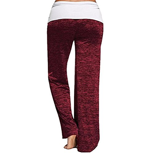 Zhuhaitf Beau et confortable Multicolor Casual Loose Pants Mid Waist Yoga Running Trousers Slim Fit for Women Long red