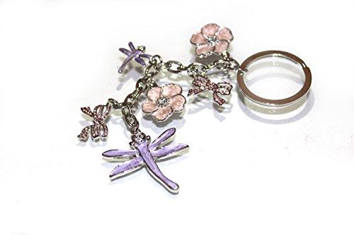 Multi-farbigen Damen-handtaschen (multi-charms–Libelle, Blumen und Schleife–Bag Charm Schlüsselanhänger)