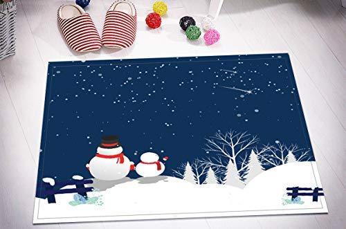 EdCott Weihnachten Schneemann Blauer Himmel Meteor Flanell Innendekoration Matte Schlafzimmer Teppich Außentür Frontmatte Küchentürmatte Badezimmermatte Hauptfarbe Quadratmatte 40x60cm Mode -