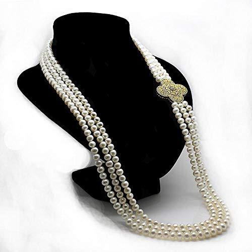 Lnyy Perlenkette Dreischicht-Süßwasserperle Halskette Pullover Länge Kette 68cm
