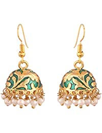 I Jewels Jaipur Meenakari Green Gold-Plated Jhumki Earrings For Women E2547G