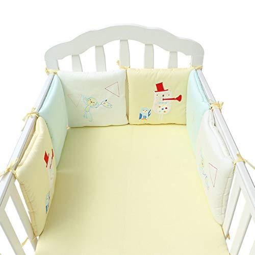 LY-LD Baby Bed Bumper Sets von 6-Piece, Soft Breathable Cotton Kissen Krippenschutz für 0-36 Monate Säugling