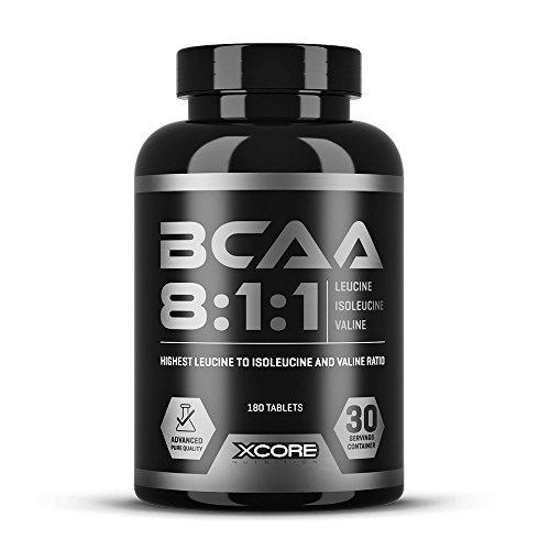 Xcore Complexe de BCAA 8:1:1 de qualité 180 comprimés - 2400 mg de leucine, 300 mg de valine et 300 mg d'isoleucine -Rapport d'acides aminés élevé pour la prise de masse et une récupération rapide!