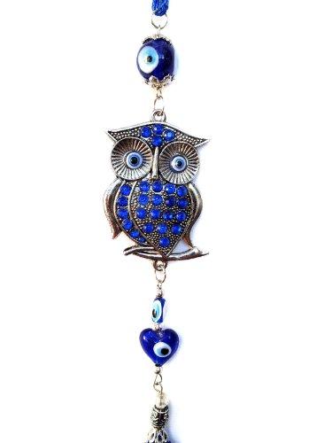 Azul mal de ojo Encanto decoración colgante con búho para protección (con un Betterdecor bolsa) -25