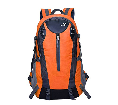 FORU 40L Hiking Backpack Multi-Functional Climbing Camping Rucksack Waterproof Sport Bag Orange Outdoor Trekking 15 Inch Laptop Packs