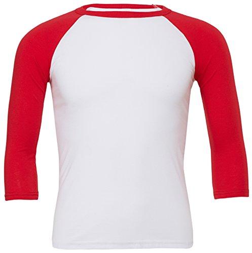Triblend ¾ Ärmel Baseball T-Shirt Weiß Rot