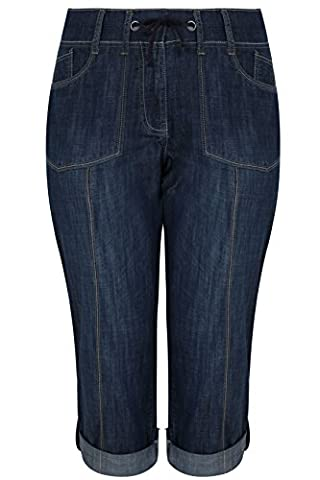 Yoursclothing Plus Size Womens Denim Rib Waist Roll Up Crops With Pockets Size 14 Blue