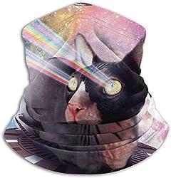 JKHHW Universum Lazer Space Nackte Katze Reiten Unisex Fleece Nackenschutz Wärmer Winter Winddicht Ski Gesichtsmaske Sturmhaube Halbmaske für Frauen Männer