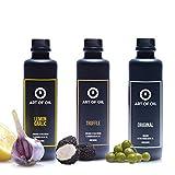 Geschenkbox | 200ml Olivenöl ORIGINAL, ein BIO Olivenöl mit Zitrone Knoblauch & Olivenöl mit Trüffel | In Designer Feinsteinzeug Ölflasche