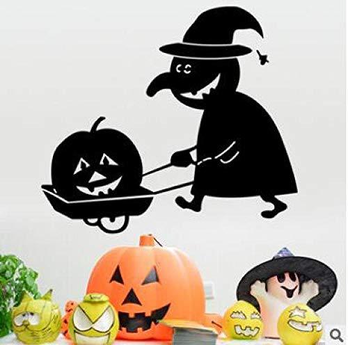 Halloween Kürbis Kopf Hexe Wandaufkleber Schwarz Geschnitzte Schlafzimmer Bar Hintergrund Aufkleber 30 * 60 cm