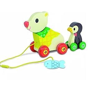 Vilac - El oso y pingüino, juguete musical para arrastrar (4651)