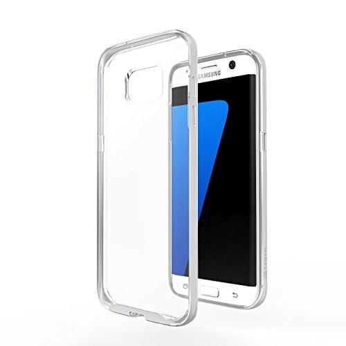 Azorm Handyhülle für Samsung Galaxy S7 Edge, Hybrid Edition Smartphone Hülle, Bumper Schutzhülle Anti-Rutsch und Kratzfest, Silikon Rückseite Transparent - Silber (Metalleffekt)