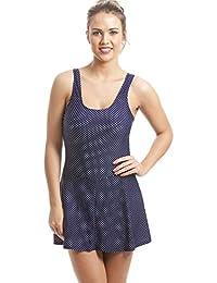 Camille - Maillot de bain jupette rétro - motif pois - femme - bleu marine - taille 42 à 52