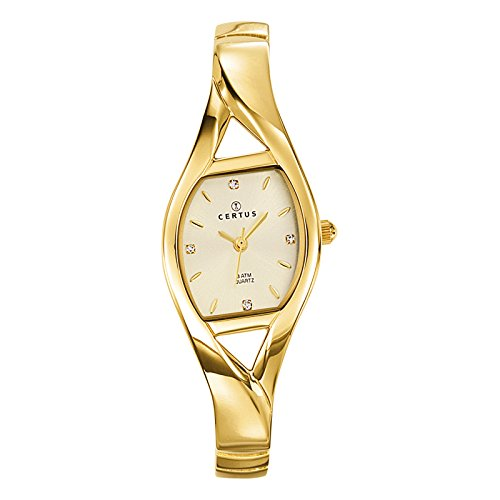 Certus Paris Women's 631647 Golden Dial Gold Tone Brass Bracelet Crystals Watch