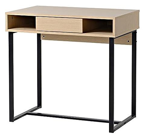 bonVIVO® Designer-Schreibtisch COCO, moderner Sekretär/Schminktisch mit Schublade im stilvollen Mix aus Holz in Sand-Braun und eleganten Stahlkufen in schwarz
