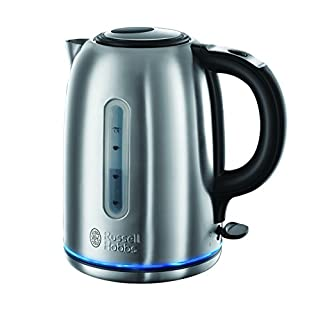 Russell Hobbs 20460 Buckingham Quiet Boil Kettle, 3000 W, 1.7 Litre, Brushed Stainless Steel Silver