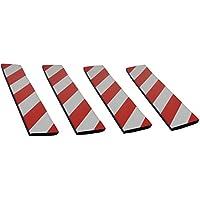 FWP4410RWx4 Protectoras paragolpes de pared parking, autoadhesivas, fabricado en goma espuma, para aparcamientos, industrias, garajes y almacenes, dimensiones 44x10x1,5 cm, rojo/blanco (4 piezas)