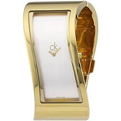 Calvin Klein K1T23501 - Reloj analógico de mujer de cuarzo con correa de acero inoxidable dorada
