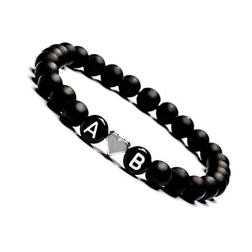 Armband mit Buchstaben Personalisiert, Personalisierbare Perlen Armbänder für Pärchen, Onyx Perlenarmband für Paare I Partnerarmband mit Wunschgravur