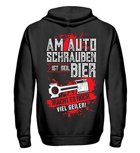 Shirtee Am Auto Schrauben ist geil Bier Geiler - Zip-Hoodie -S-Schwarz Bier-zip Hoodie