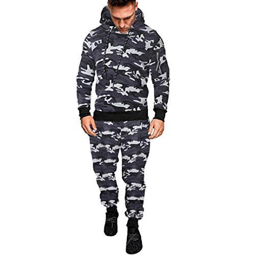 UFACE Herren Camouflage Langarm-Kapuzen-Sweatshirt Hosen Set Herbst Winter Printed Sweatshirt Top...