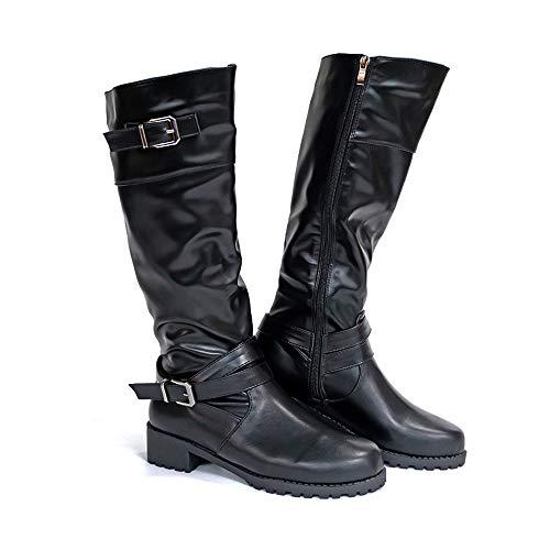 Botas Mujer Altas Zápatos de Tacon Planas Invierno Cremallera Ancho hasta la Rodilla Boots Equitacion Hebilla Plataforma Block 4.3cm Negro EU37