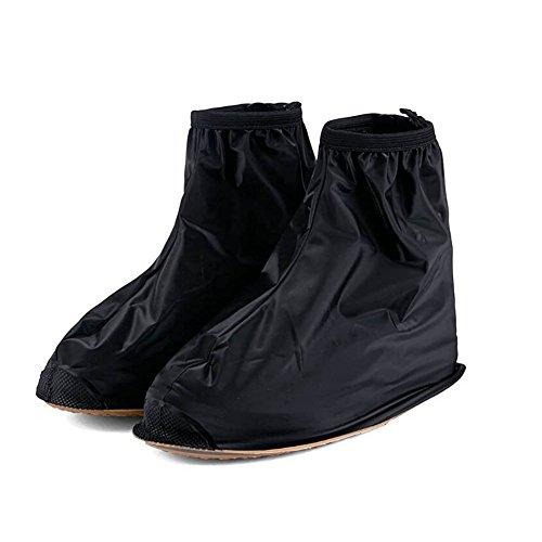 Oriskey 1Paar Regenüberschuhe Wasserdicht Schuhe Abdeckung Stiefel Flache Regen Überschuhe Regenkombi Schuhüberzieher Rutschfestem für Damen Mädchen Herren Jungen,Schwarz,L (Damen Überschuhe)