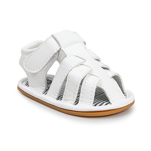 Coupon Matrix - Sabe Infant Baby Boys T-Tied Casual Summer Sandals Soft Leather Sole Anti-Slip Pram Shoes (0-6 Months, White)