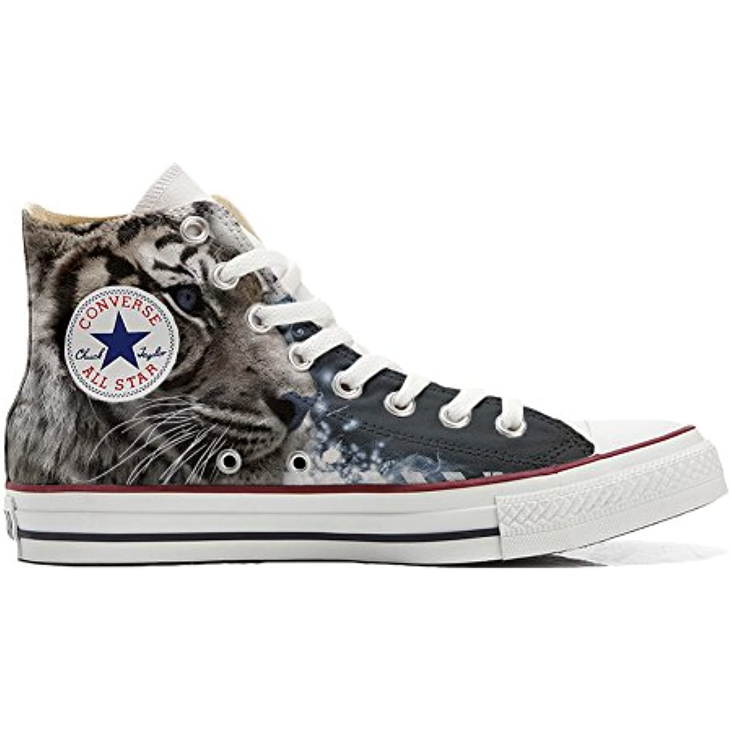 Converse Personalizzate all Star Hi Canvas, Sneaker with Unisex (Prodotto Brtigianale) Tiger with Sneaker Blue Eyes  Parent ac7bc1