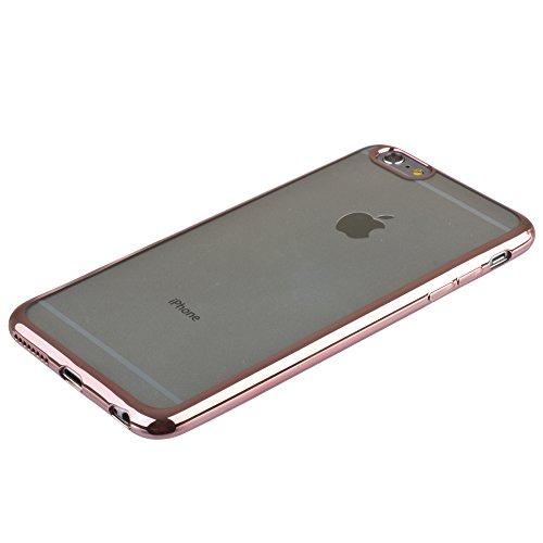 Xcessor Flex Ultradünn TPU Flexibel Gel Hülle für Apple iPhone 6 und 6S mit Bunten Kanten. Klar / Goldene Farbe Klar / Hellrosa