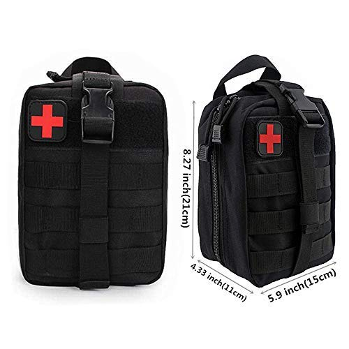 FIRECLUB Compact Tactical Molle Rip-Away EMT Medical First Aid Utility Pouch 1000D Nylon Carlebben for Hiking, Biking, Rock Climbing, Hunting, Sports (Black) - Pouch Molle Medical