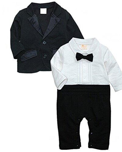 Minetom Bambini Neonati Pagliaccetti Cappotto Manica Lunga Gentleman Suit Con Bowknot 2 Pcs Nero 70