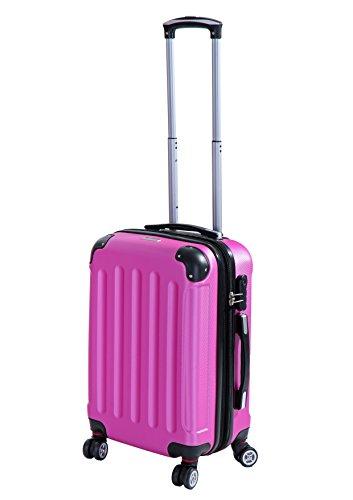 P-Collection Koffer Trolley Handgepäck Reisekoffer Hartschalenkoffer Zwillingsrollen M-L-XL-Set Dehnungsfuge 5 Farben (Pink Größe M)