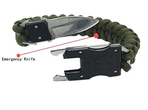 ProtosIndia.netTM Paracord Survival Kit Bracelet Stainless Steel Knife Wrist Band Bracelet Multifunctional Tools Kit Hiking Travelling Camping Gear Kit