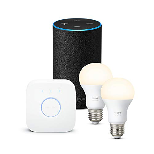 Amazon Echo (2ª generazione), tessuto antracite + Philips Hue White Starter Kit
