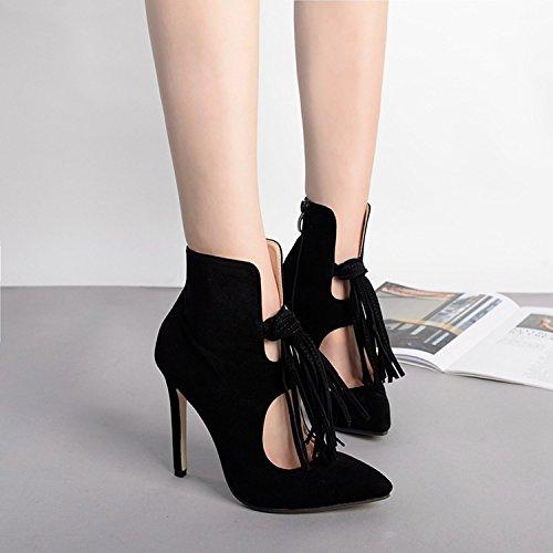 GS~LY Bottes pour dames daim gland pointu bottes courtes stiletto hauts nues Black