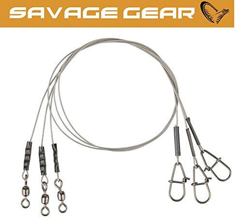 Savage Gear Carbon49 Trace 30cm 0,48mm 11kg - 3 Stahl Spinnvorfächer, Stahlvorfach, Raubfischvorfach, Vorfach zum Hechtangeln