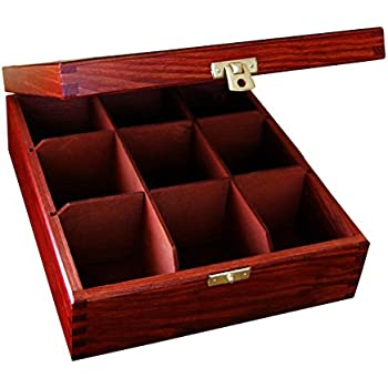 Lacquered WOOD - WOODEN BOX TEA BAG CHEST 9 COMPARTMENT