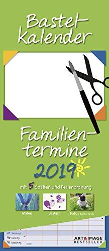 Bastelkalender Familientermine 2019 - Familienplaner zum selbergestalten, Malen und Basteln, Do-It-Yourself - 19,5 x 45 cm