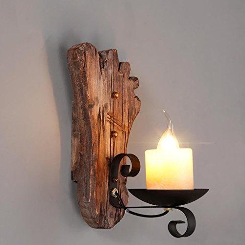 Nordic Rétro Style Industriel Mur Lampe Solide Bois Décoratif Pied Mur Lampe Salon Chambre Loft Chevet Allée Lampes, Lumière E27 * 1, Taille 15 * 30 cm