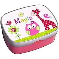 Brotdose mit Name, Mädchen, Kindergarten, Schule, Giraffe, Eule, Lunchbox, Geschenk zur Einschulung, zum Geburtstag, zu Weihnachten, personalisiert, von ginidesign
