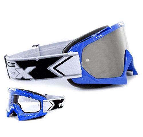 TWO-X Race Crossbrille blau Glas verspiegelt Silber MX Brille Motocross Enduro Spiegelglas Motorradbrille Anti Scratch MX Schutzbrille