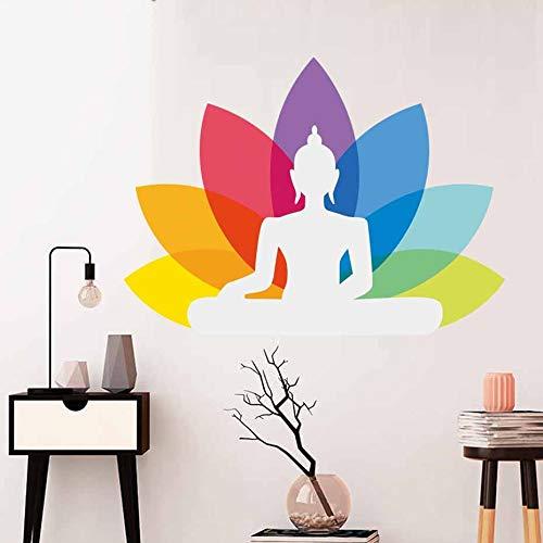 nkfrjz Adesivo Yoga Buddha Ganesha Decalcomania da Muro Art Design Indian Religion Flower Home Decor Adesivo da Parete Mondo 48cm X 35cm