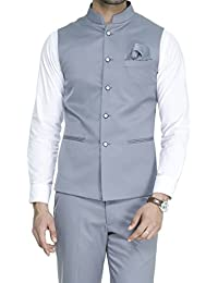 ManQ Men's Band Collar Slim Fit Formal/Party Waist coat - 11 Colors