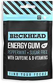 Blockhead Energy Gum Peppermint 30 Pieces | Caffeine Nootropic Chewing Gum | Vitamins B1, B6 & B12 | Ginse