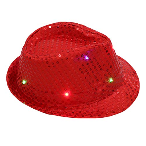 LED light Hat Flashing Light Up Hut baseball Cap Glühender Leuchte Kappe Mit Colorful Sequin Night Hat Magischer Hut Urlaub Partyhut Fancy Dress Dance Party Unisex Casual Festival Jazz ()