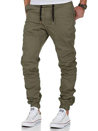 Amaci&Sons Herren Stretch Jogger Basic Chino Jeans Hose Cargo 7002 Olive W31 (Grüne Chino Hose)